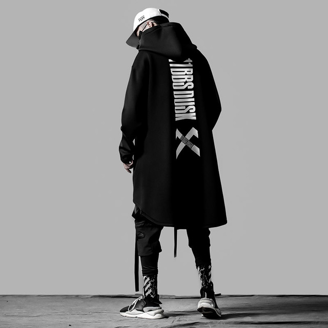japanese sweatshirt Mens Oversize Hoodies Long Cloak Hip Hop Gothic Outwear Streetwear Coat Harajuku Style Male Tops michalkova 5