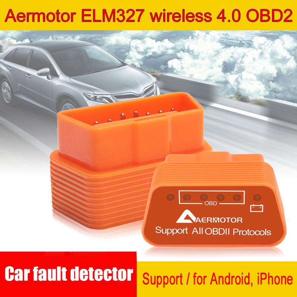 Car Fault Detector Scanner Aermotor ELM327 Bluetooth 4.0 Support Android Car Diagnostic Adapter Suitable for Android & IOS|Code Readers & Scan Tools| |  - title=