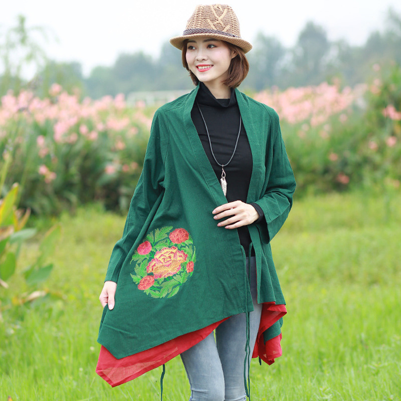 Branch Embroidered Split Shawl Coat Women's Autumn Sleeved Embroidered National Wind Cotton Linen WOMEN'S Dress Long Sleeve Retr