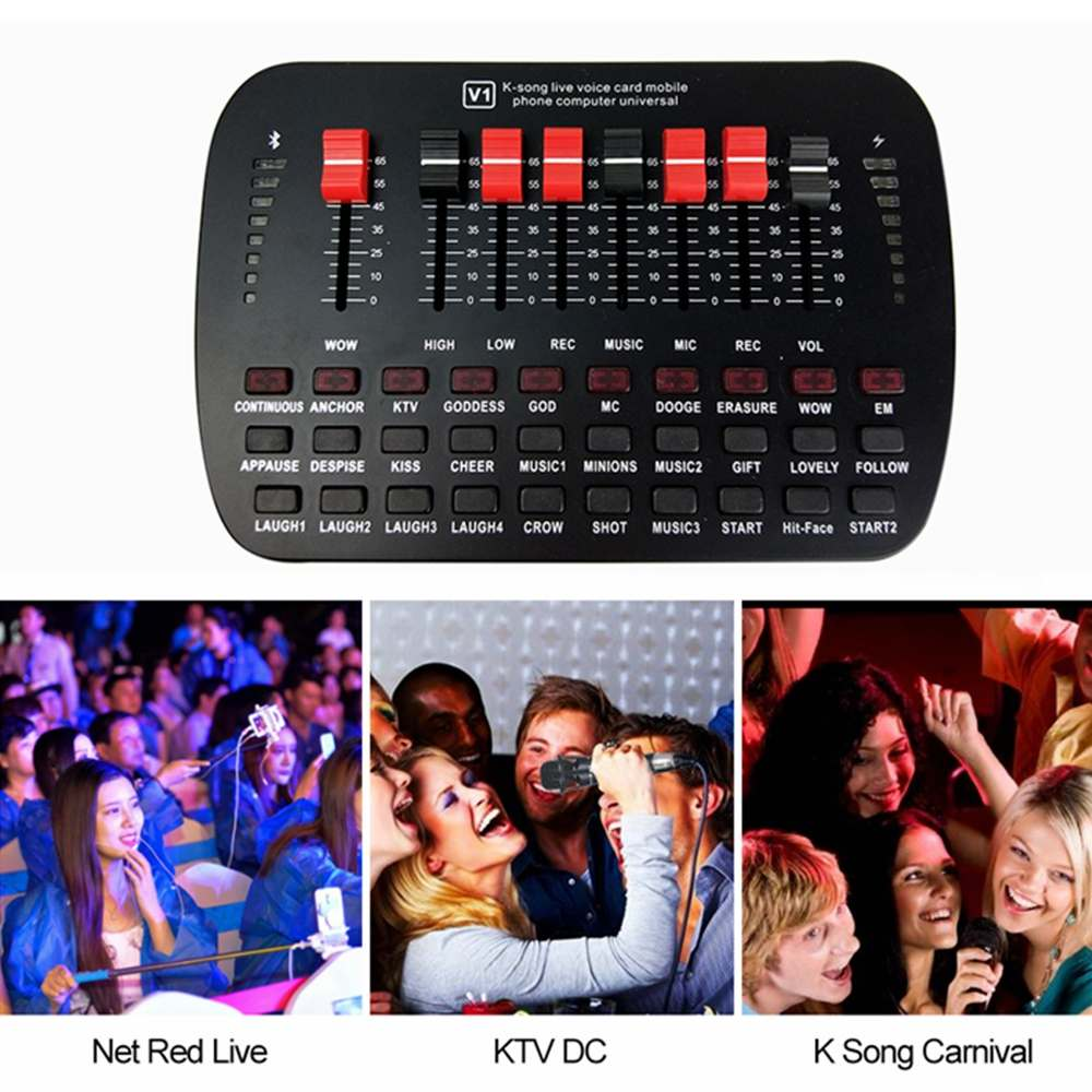 BT Live Sound Card Live Broadcast KTV Karaoke Live Universal Volume Adjustable USB External Audio Mixer Sound Card Studio Double