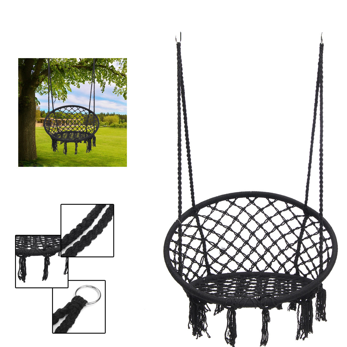 Outdoor Home Garden Round Hammock Hanging Chair Dormitory Bedroom Indoor Safety Swinging Chair For Child Adult