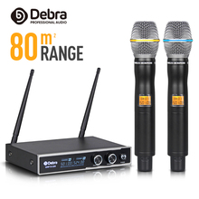 цена на Good sound!!!Debra Audio D-220 2 Channel 80m Range with 2Handheld Mic UHF Wireless All Metal Microphone System For Karaoke
