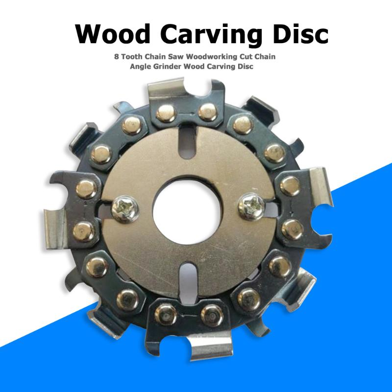 8 Tooth Wooden Carving Chain Saw Disc Saw Blade Woodworking Cutting Chainsaw Disc Chain Plate Angle Grinder Accessory