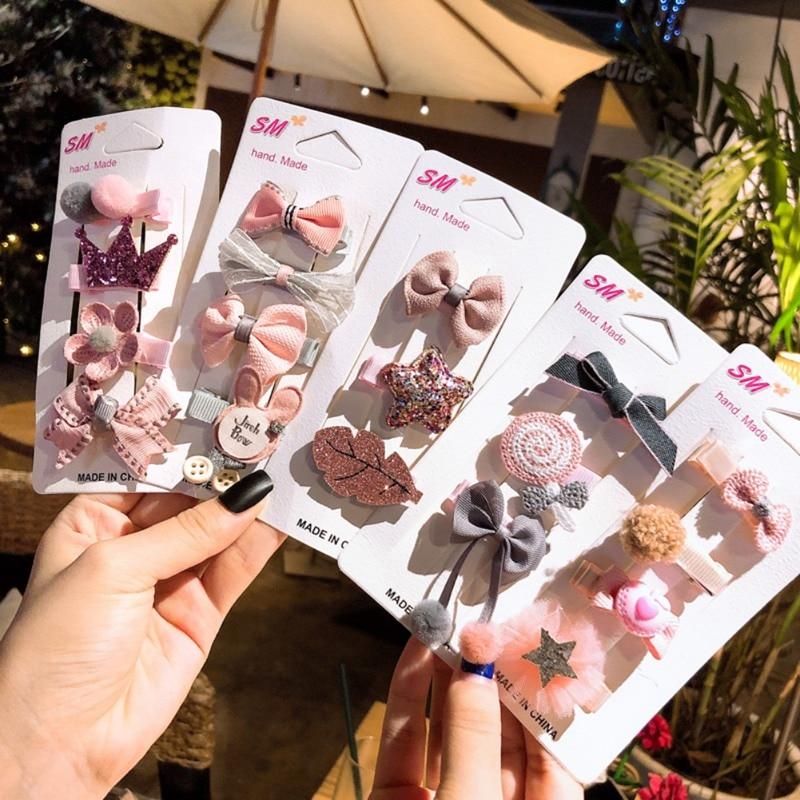 4Pcs Fashion Cute Baby Girls Headwears Hairpin Kids Infant Bowknot Flower Hairpins Set Children Hair Accessories Gifts