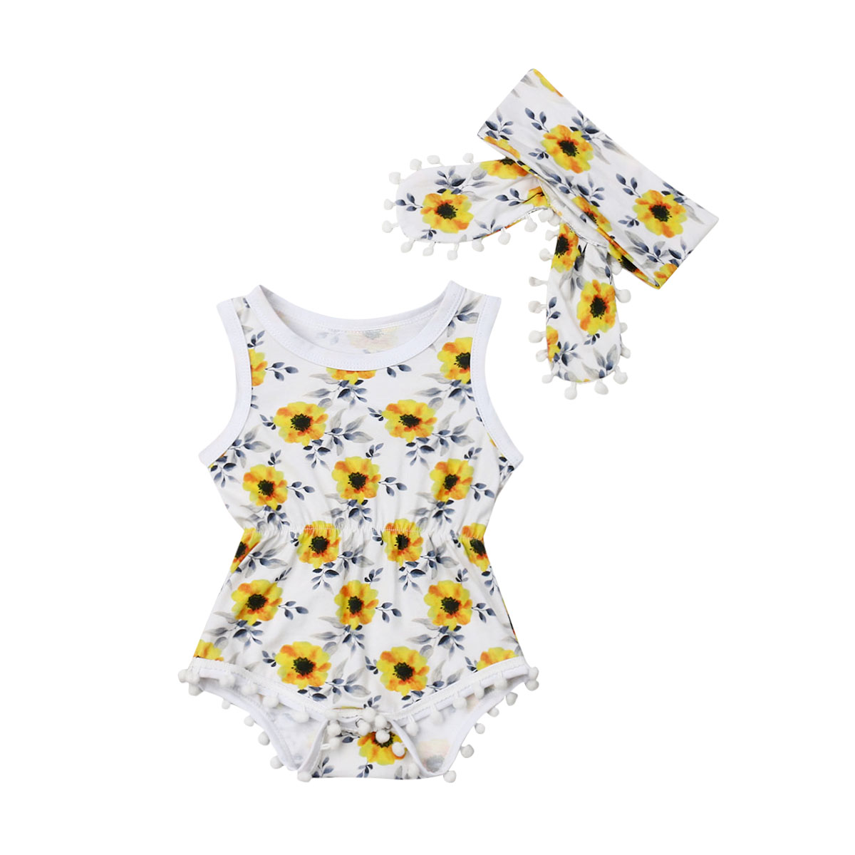 3-24M Fashion Newborn Infant Baby Girl Floral Sleeveless Tassel Bodysuit Jumpsuit One Piece Headband Outfit Summer Clothes