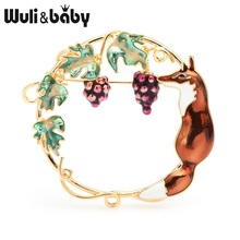 Wuli&baby Red Brown Fox Eating Grape Brooches Women Enamel Animal Weddings Brooch Pins  Gifts