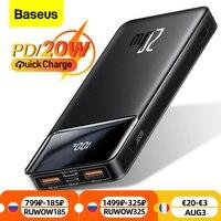 Baseus banco de potencia 20000mAh portátil cargador Powerbank 10000 batería externa PD 20W de carga rápida para iPhone 12 Xiaomi PoverBank