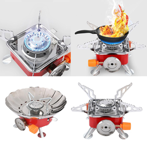 Mini Camping Gas Stove Cookout Folding Butane Burner Backpacking Travel Stove Outdoor Cooking Stove Cooker Supplies Accessories