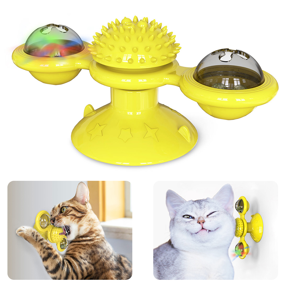 Pet Toys For Cats Interactive Puzzle Training Turntable Windmill Ball Whirling Toys For Cat Kitten Play Game Cat Supplies Pet