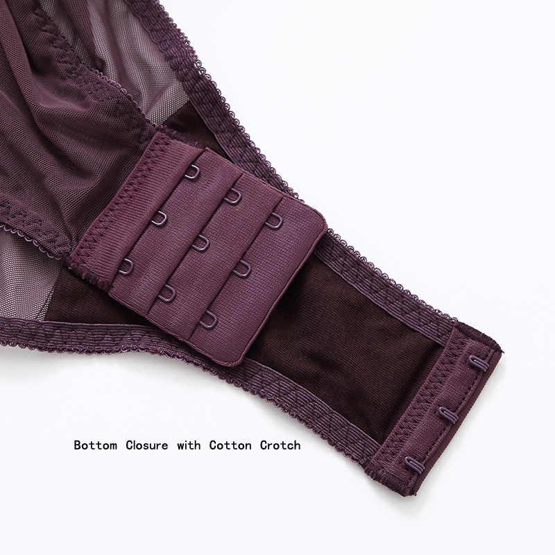 Bodysuits נשים רצועות כוס מרופד חלול החוצה חזרה Push Up ברזלי כותנה מפשעה סקסית הלבשה תחתונה Shapewear נשים אור שליטה