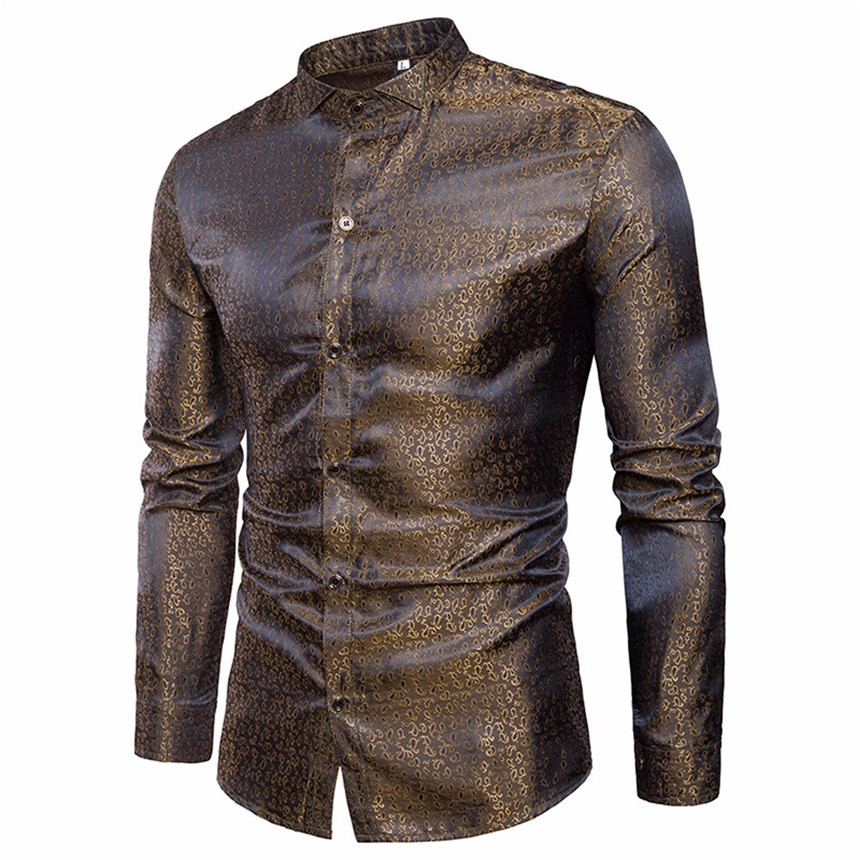 KLV Mens Shirt Slim Fit Long Sleeve Casual Button Shirts Formal Top Blouse Gold Shirts Party Singer Stage Shirts
