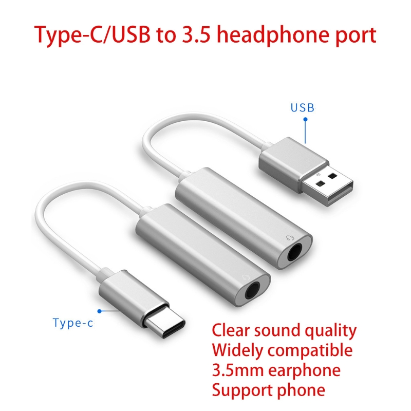USB type-C To 3.5 mm Stereo Jack Headset Audio Adapter Cable External Sound Card Jack 5