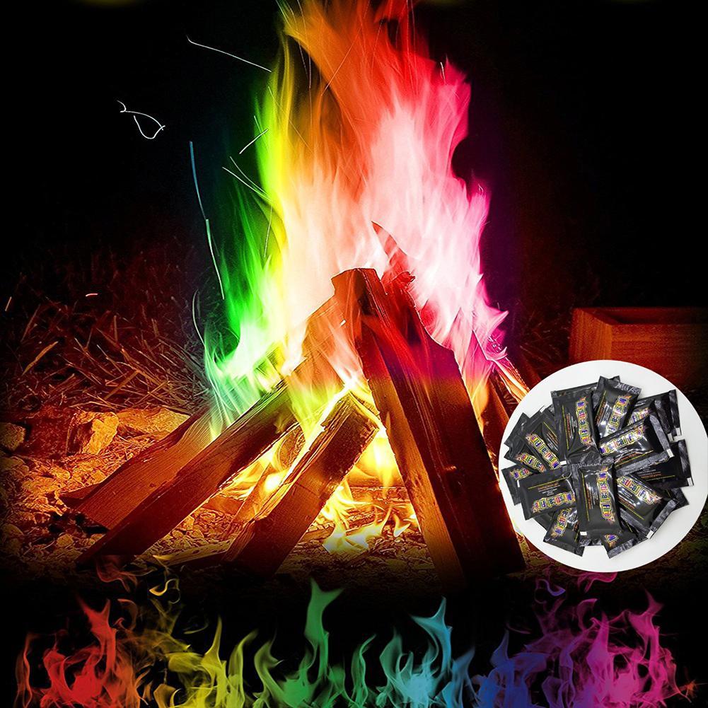 Magic Fire Powder Colorful Flames Powder Bonfire Sachets Pyrotechnics Magic Trick Outdoor Camping Hiking Survival Tools