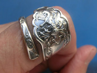 925 sterling silver lion pattern silver spoon ring