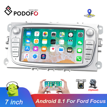 Podofo 2din Android 8.1 Car Multimedia player 7'' Autoradio Car Radio GPS Mirrorlink For Ford Focus Mondeo C-MAX S-MAX Galaxy II image