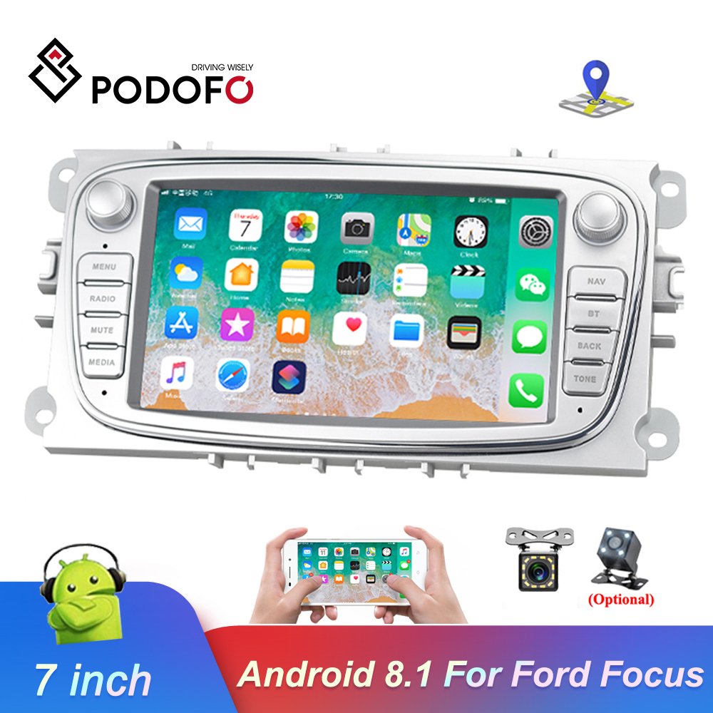 Podofo 2din Android 8.1 Car Multimedia player 7'' Autoradio Car Radio <font><b>GPS</b></font> Mirrorlink For <font><b>Ford</b></font> Focus Mondeo <font><b>C</b></font>-<font><b>MAX</b></font> S-<font><b>MAX</b></font> Galaxy II image