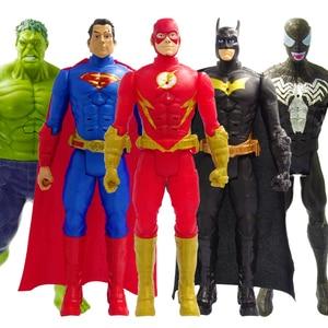 30cm Marvel Avengers Batman Flash Superman Venom Spiderman Thanos Hulk Iron Man Thor Wolverine Action Figure Doll Toys Kid Gifts