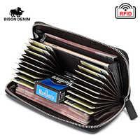 BISON DENIM 100% carteras de cuero de vaca para hombres RFID bloqueo tarjeta titular monedero largo teléfono billetera W8226-2