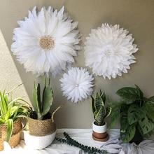 100% Hand-woven Room Decoration Handmade Feather Sunflowers Shape Nordic Style Wall Hanging Habitacion Decoracion