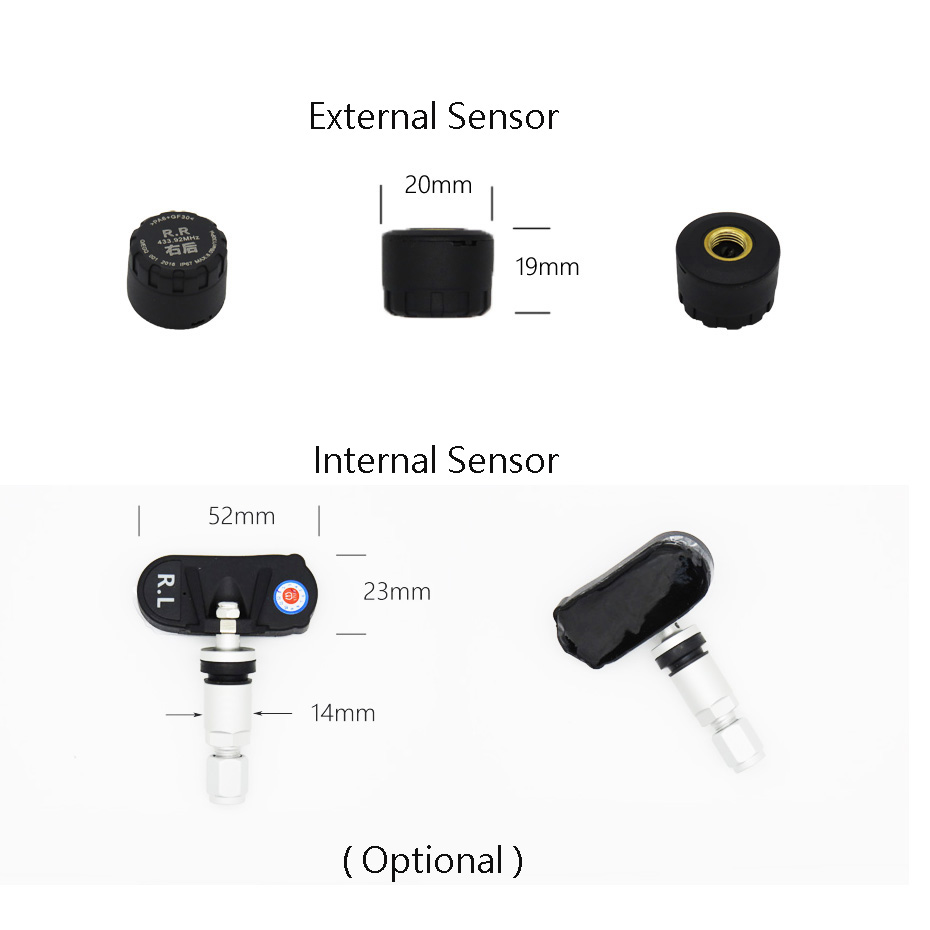 Visture TPMS With 10W USB Output Car Tire Pressure Alarm Monitor System Tyre Monitoring External Internal Sensor  D02N T07W T05N