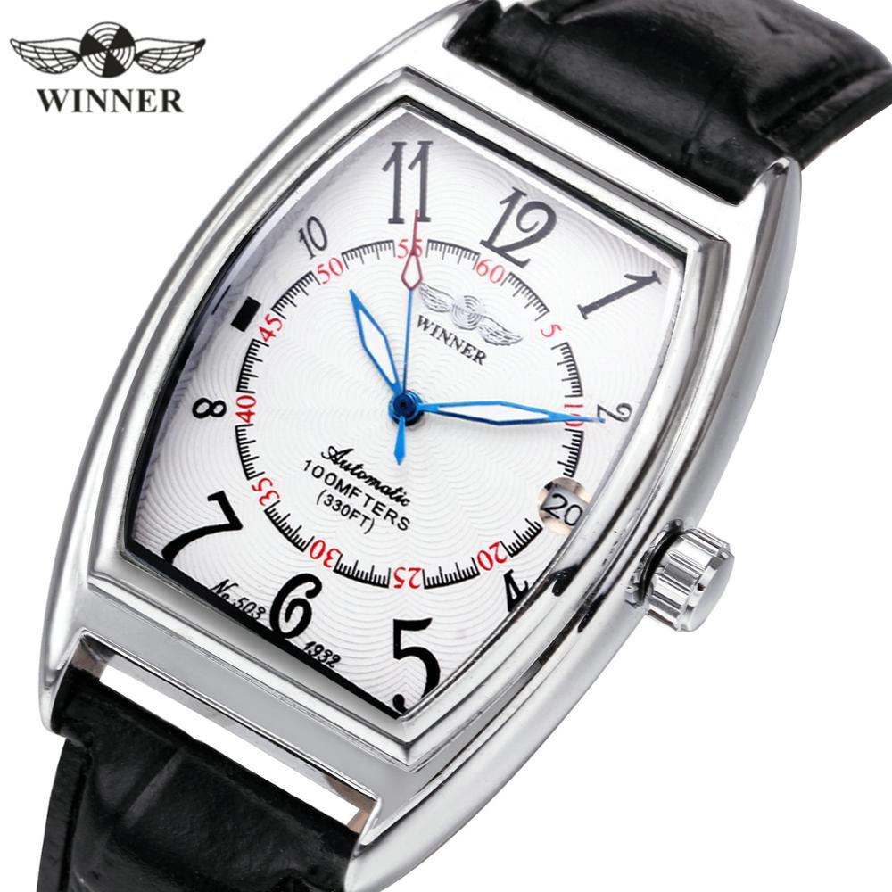 WINNER Official Brand Luxury Women Watches Leather Unisex Auto Mechanical Ladies Watch Tonneau Calendar Casual Dress Wristwatch