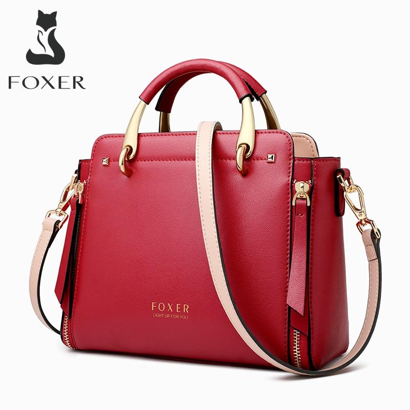 FOXER Split Leather Handbags Women Purse Chic Totes Female  Shoulder Bags Large Capacity Crossbody Bag Stylish Messenger Bag