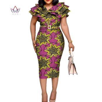 Bazin Riche African Ruffles Collar Belt Dresses for Women Dashiki Print Dresses Vestidos Women Wedding African Clothing WY5740