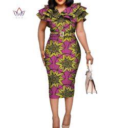 Bazin Riche Afrikanischen Rüschen Kragen Gürtel Kleider für Frauen Dashiki Drucken Kleider Vestidos Frauen Hochzeit Afrikanische Kleidung WY5740