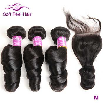Soft Feel Hair Brazilian Loose Wave Bundles With Closure Human Hair Bundles With Closure Remy Hair 3 Bundles With Closure 4 Pcs - DISCOUNT ITEM  57% OFF All Category