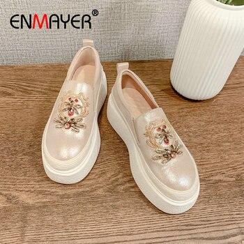 ENMAYER 2020 Basic Wedges Women Heels Genuine Leather Casual Slip-On Sheepskin Round Toe Shoes Leisure Size 34-39