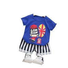 Children New Summer Clothes Baby Girls Boys Striped Cartoon T Shirt Shorts 2Pcs/sets Kids Infant Outfit Toddler Casual Clothing new summer toddler baby boy clothing set cute t shirt shorts 2pc cute casual cartoon children boys clothes suit for kids outfit
