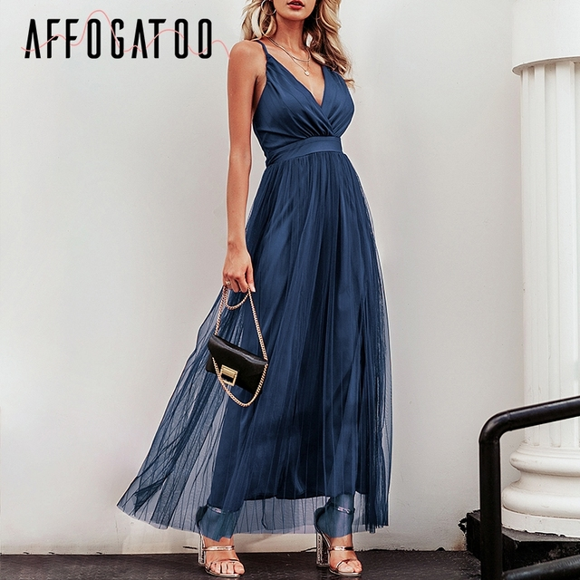 Affogatoo Sexy deep v neck backless summer pink dress women Elegant lace evening maxi dress Holiday long party dress ladies 2019 4