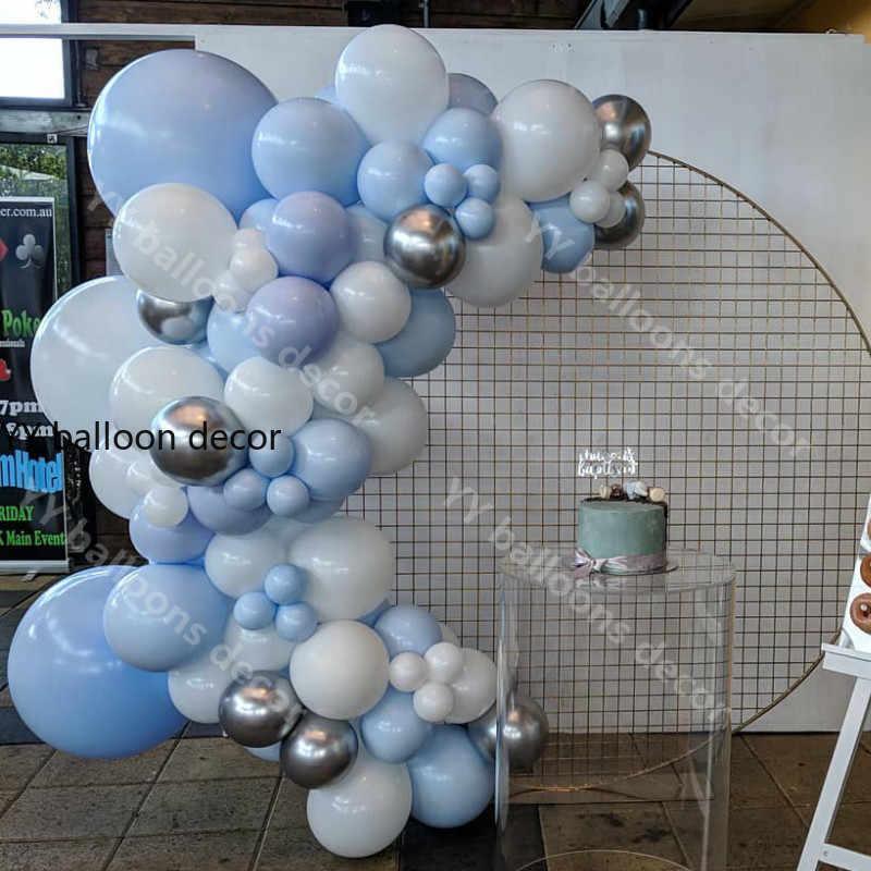 113 قطعة طقم قوس بالون جارلاند أزرق أبيض معدني بالون الشظية الترتر بالونات لحفل زفاف استحمام الطفل لوازم الحفلات