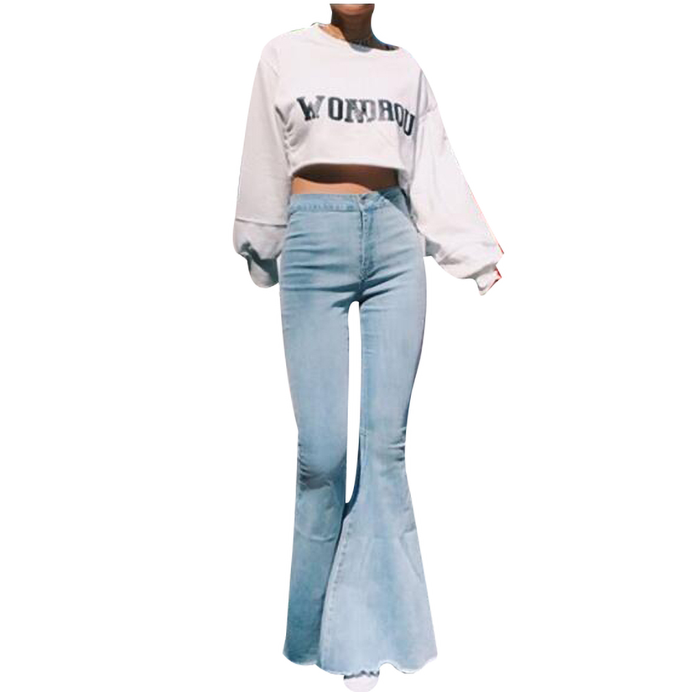 Women's Denim High Waist Pants Solid Color Slim Sexy High Waist Big Trousers Trousers Female Clothing New Fashion Dropshipping O