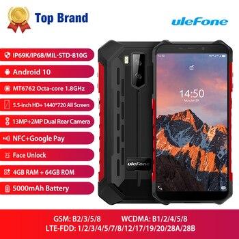 Купить Смартфон Ulefone Armor X5 Pro, NFC, 4G, LTE, Android 10, IP68, MT6762, 4 + 64 ГБ, 8 ядер