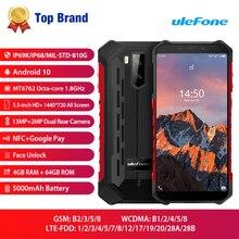Ulefone שריון X5 פרו NFC 4G LTE נייד טלפון אנדרואיד 10 מחוספס עמיד למים Smartphone IP68 MT6762 טלפון סלולרי 4GB 64GB אוקטה core