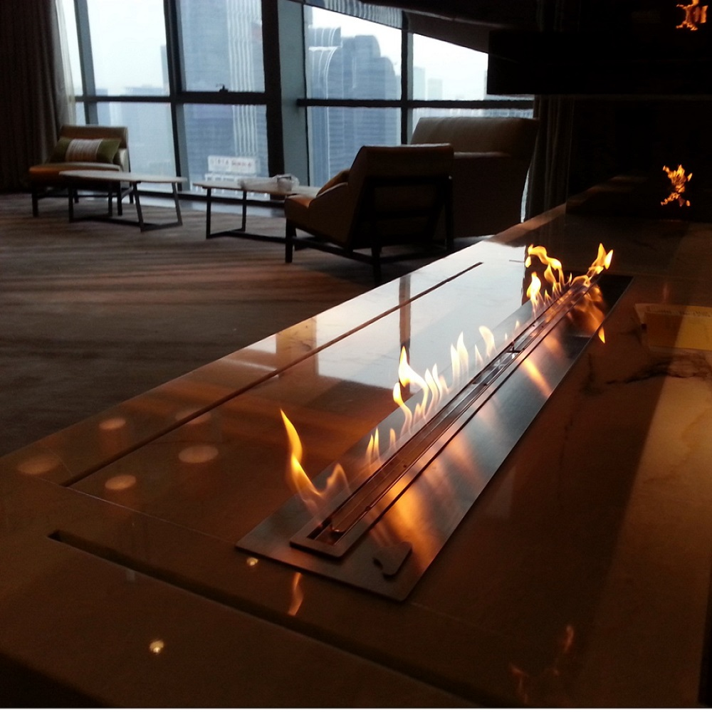 Hot Sale 72 Inches Luxury Indoor Used Ethanol Fireplace Wifi Remote