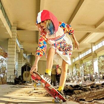 Women Hip Hop Sweatshirt Girls Skateboard Sport Hoodies Female Streetwear Cartoon Print Long Sleeve Oversize Plus Size Pullover billie eilish hoodies women casual oversized sweatshirt pullover hip hop streetwear tracksuit fashion clothing top plus size