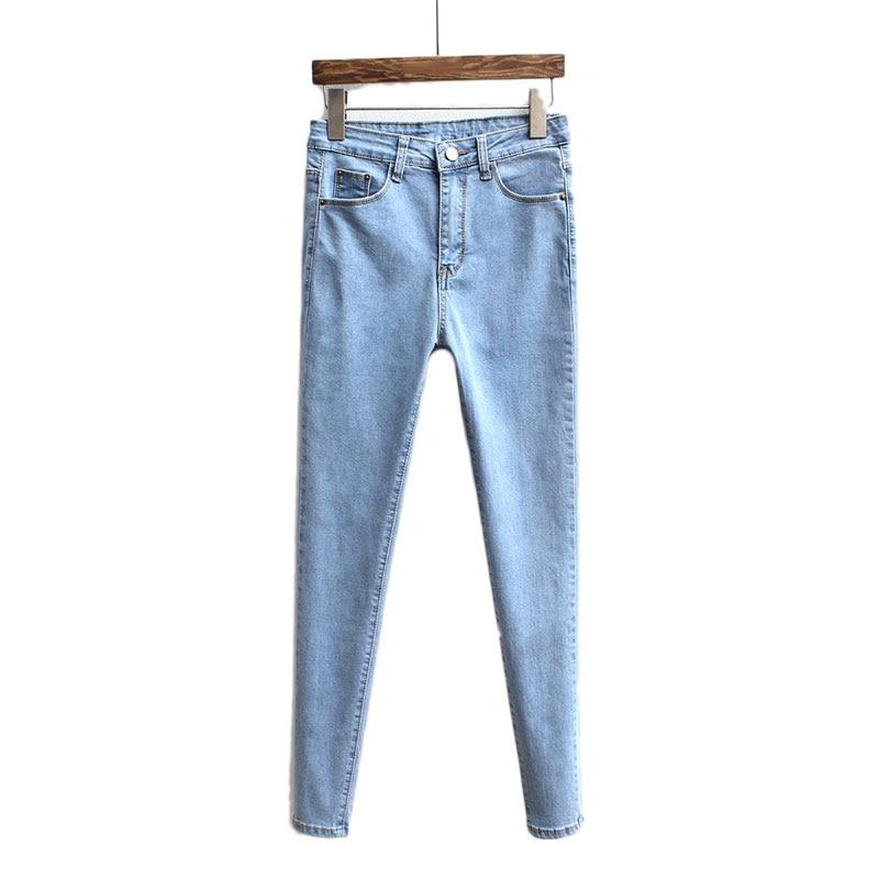 Slim Jeans For Women Skinny High Waist Denim Pencil Pants Stretch Waist Casual Hole Ripped Women Jeans Black Pants Feminina