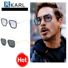Men Sunglasses Iron Man KARL Brand Designer Fashion Retro Women occhiali tony stark sunglasses UV400