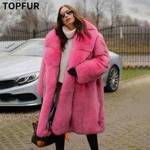 Женское пальто из натурального Лисьего меха с большим меховым