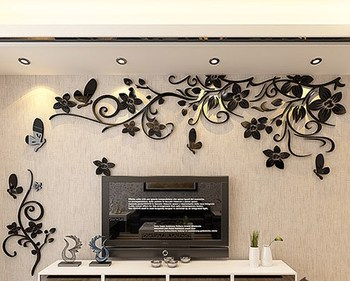 DIY Removable Vinyl Flower Wall Sticker Modern Decals For Wall Decor TV Background Decoration Mural Wallpaper For Living Room 14