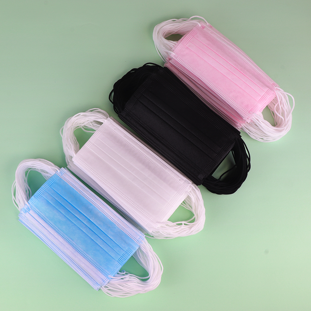50pcs/pack Non Woven Disposable Face Mask 2 Layer Medical Dental Earloop Activated Carbon Anti-Dust Face Surgical Masks