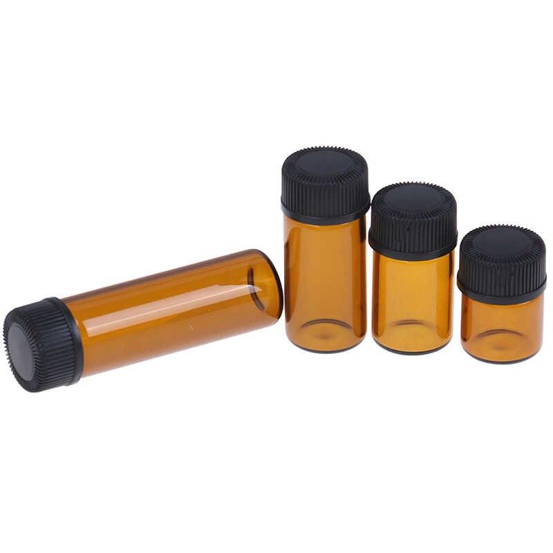 1pc新アンバーミニ詰め替えボトルガラス試薬エッセンシャルオイルサンプルボトルブラウンガラスバイアルキャップ 1 /2/3/5 ミリリットル