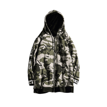 Camouflage hoodie Autumn and winter mens long zipper hooded sweatshirt warm plus velvet thick camouflage printed