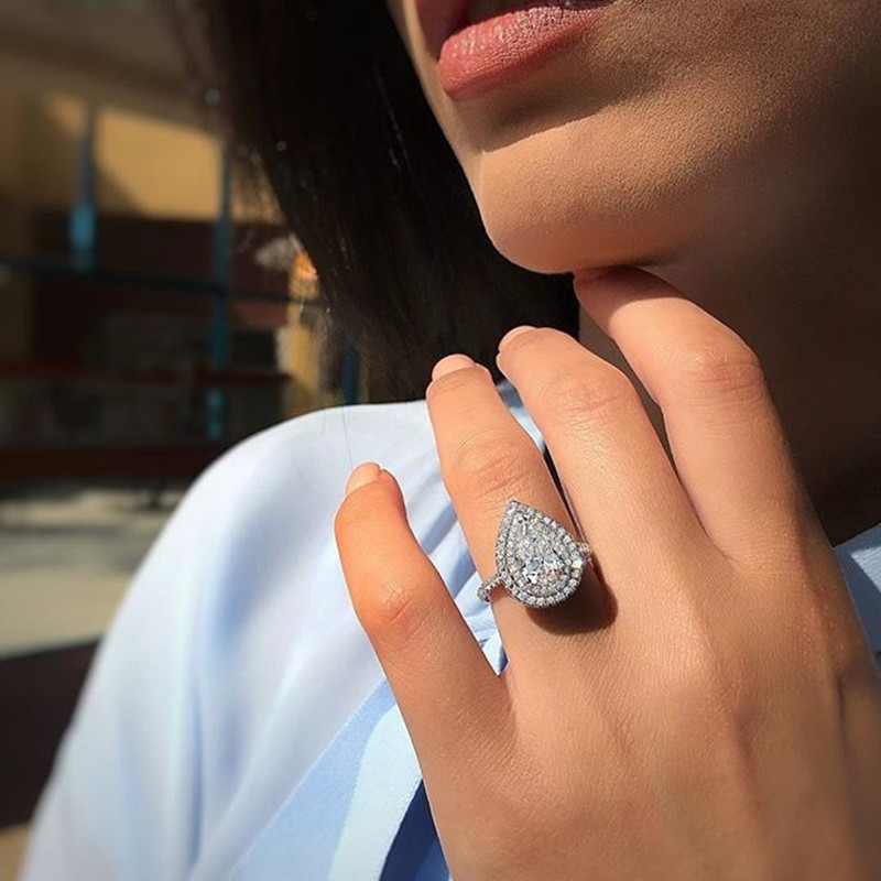 2020 new luxury pear solid 925 sterling silver engagement ring for women lady anniversary gift jewelry bulk sell moonso R5490(China)