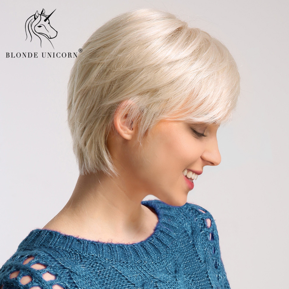 BLONDE UNICORN 6 Inch Synthetic Short Straight Hair Wig For Women 50% Human Hair White Fluffy Short Texture Pixie Cut Wig
