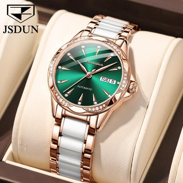 JSDUN Women Mechanical Watch Rose Gold Stainless Steel Ceramics Strap Dress Watches Fashion Luxury Brand Women's Automatic Watch 1
