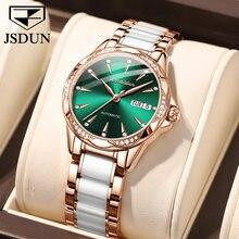 Orologio meccanico da donna JSDUN orologio da donna con cinturino in ceramica in acciaio inossidabile oro rosa orologio automatico da donna di marca di lusso