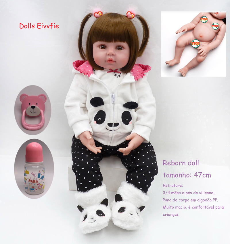 19 inches 48cm BeBe reborn entire silicone doll girl baby curly baby rebirth life Christmas gift children bath toys(China)